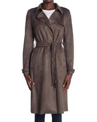Philosophy Apparel Belted Faux Suede Trench Coat - Brown