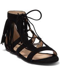 Longchamp Lace-up Tassel Gladiator Sandal - Black