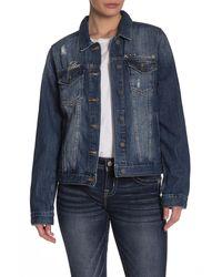 Miss Me Studded Distressed Denim Jacket - Blue