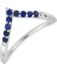 Bony Levy - 18k White Gold Pave Sapphire Chevron Stackable Ring - Lyst