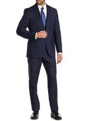 JB Britches Logan Medium Blue Plaid Two Button Notch Lapel Wool Classic Fit Suit
