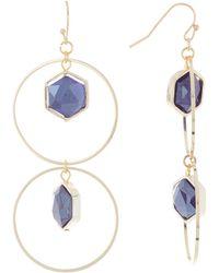 Panacea Stone Drop Linear Hoop Earrings - Blue