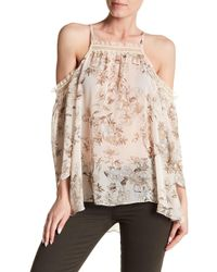 Analili - Lace Trim Floral Print Cold Shoulder Blouse - Lyst