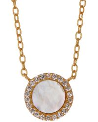Argento Vivo - 18k Gold Plated Sterling Silver Mother Of Pearl Cz Pendant Necklace - Lyst
