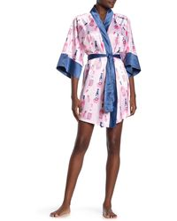 Munki Munki Rose Bottle Print Satin Kimono Robe - Pink