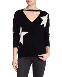 Pam & Gela - V-cutout Star Print Wool Blend Sweater - Lyst
