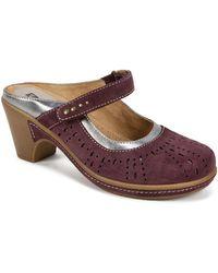 White Mountain Footwear Gull Slip-on Leather Heeled Mule - Brown
