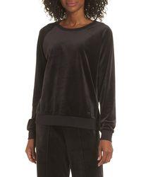 Joe's Jeans Raglan Sleeve Velour Sweatshirt - Black