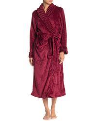 Carole Hochman Rib Shawl Collar Waist Tie Robe - Red