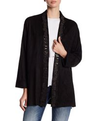 Miss Me - Embellished Faux Suede Cardigan - Lyst