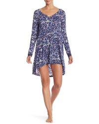Josie Floral High/low Sleep Shirt - Blue