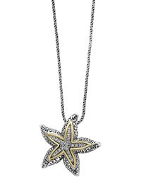 Effy Sterling Silver & 18k Gold Diamond Pave Starfish Pendant Necklace - 0.18 Ctw - Metallic