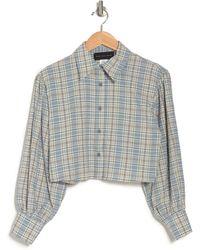 KNOWONECARES Plaid Cropped Shirt - Blue