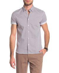 Ted Baker - Telofon Geo Print Short Sleeve Slim Fit Shirt - Lyst