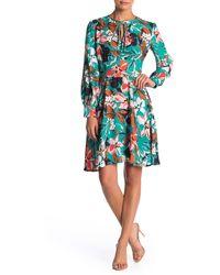 Alexia Admor Floral Print Neck Tie Dress - Green