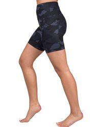 90 Degrees Lux Camo High Waisted Pocket Biker Shorts - Blue