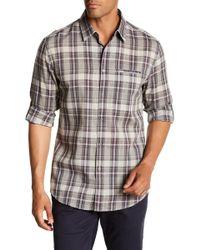 John Varvatos - Long Sleeve Plaid Print Slim Fit Shirt - Lyst