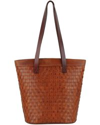 Most Wanted Usa Braided Leather Tote Bag - Brown