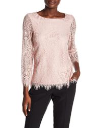 Adrianna Papell - Scalloped Floral Lace Blouse - Lyst