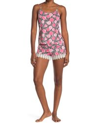 Jessica Simpson Rose Snake Print 2-piece Pajama Set - White