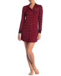 Curvy Couture Plaid Sleep Shirt - Red