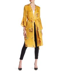 Jealous Tomato Print Ruffle Sleeve Maxi Kimono - Yellow