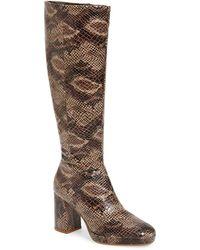 TOPSHOP Toronto Snake Knee Boots - Natural