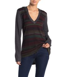 Go Couture Deep V-neck Hoood Brushed Hacci Sweater - Gray