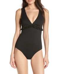 Chelsea28 Ruffle Trim One-piece Swimsuit - Black