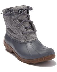 Sperry Top-Sider Syren Gulf Waterproof Wool Quilt Lace Up Duck Boot - Gray