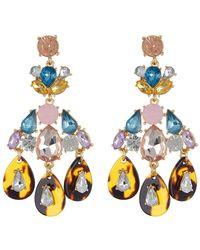 Cara - Rhinestone & Tortoise Chandelier Earrings - Lyst