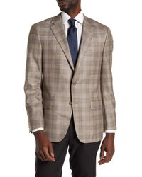 Hickey Freeman - Brown Plaid Two Button Notch Lapel Sport Coat - Lyst
