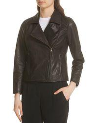 Eileen Fisher - Leather Moto Jacket - Lyst