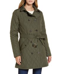 Barbour Riversdale Quilted Trench Coat - Green