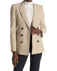 Veronica Beard Elison Plaid Double Breasted Blazer - Natural