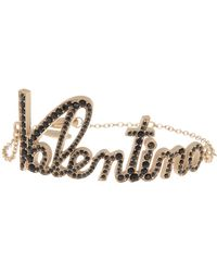Valentino Garavani Logo Script Bracelet Br - Metallic