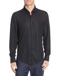 Stone Rose Regular Fit Knit Performance Sport Shirt - Black