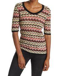 M Missoni Chevron Striped Scoop Neck T-shirt - Multicolor