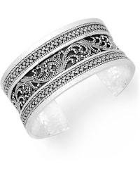 Lois Hill Sterling Silver Etched Open Cuff - Metallic