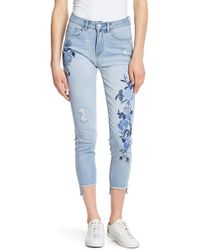 Kensie - Floral Embroidered Jeans - Lyst