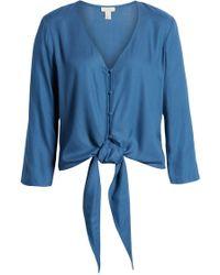 Hinge Tie Front Top - Blue