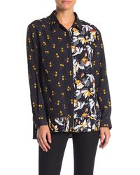 French Connection Aventine Pleated Multi-print Shirt - Blue