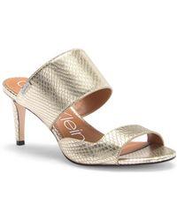 Calvin Klein - Clementine Snake Embossed Leather Sandal - Lyst