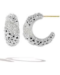 John Hardy Sterling Silver Pave Diamond Hoop Huggie Earrings - White