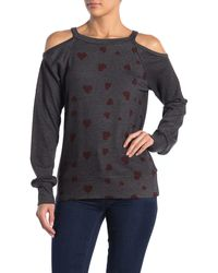 Go Couture Brushed Hacci Cold Shoulder Sweater - Gray