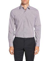 Calibrate Trim Fit Stretch Solid Dress Shirt - Purple