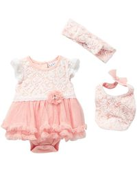 Nicole Miller Lace Overlay Skirted Bodysuit, Bib & Headband Set (baby Girls) - Pink
