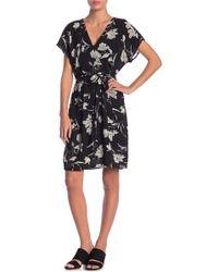 Bobeau - Floral Printed Surplice Neck Dress - Lyst