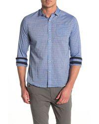 Descendant Of Thieves Windowpane Plaid Regular Fit Shirt - Blue