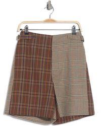 Maison Margiela Mixed Plaid Print High Waist Shorts - Brown